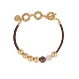 Sence Copenhagen Gold Lagoon Leather Bracelet with Rose Quartz and Purple Aventurine