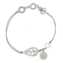 Sence Copenhagen Silver Leaf Mother of Pearl Bracelet with Silver Cord
