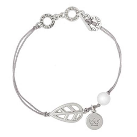 Sence Copenhagen Silver Leaf Mother of Pearl Bracelet with Silver Cord