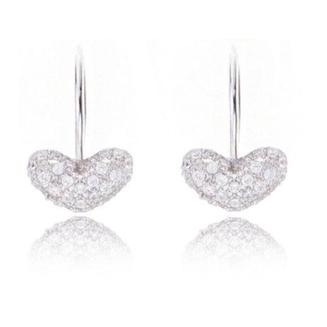 Joma Jewellery a little Love Delilah Pave Heart Silver Drop Earrings 961