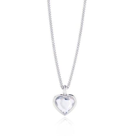 Joma Jewellery a little Clear Crystal Silver Polly Heart Necklace 943