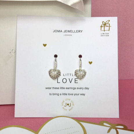 Joma Jewellery a little Love Delilah Pave Heart Silver Drop Earrings