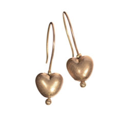 Hot Tomato Jewellery Gold Heart Drop Earrings