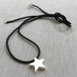 Sence Copenhagen Be Magical Black Leather Silver Star Necklace