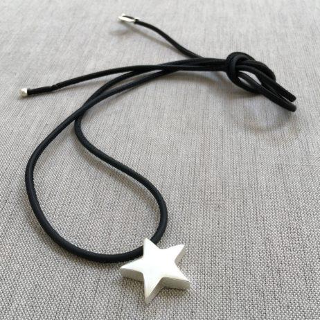 Sence Copenhagen Be Magical Black Leather Silver Star Necklace