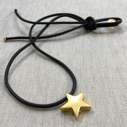 Sence Copenhagen Be Magical Black Leather Star Necklace Gold