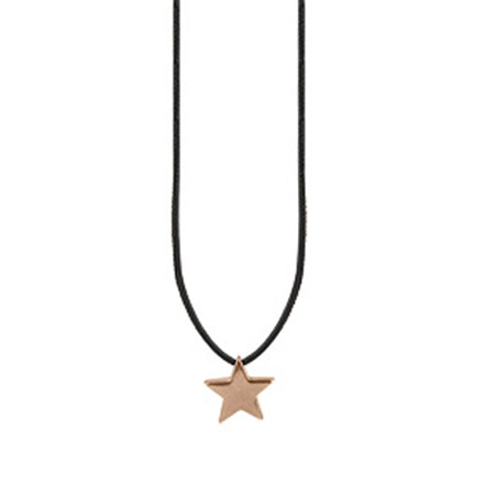 Sence Copenhagen Be Magical Black Leather Star Necklace Rose Gold
