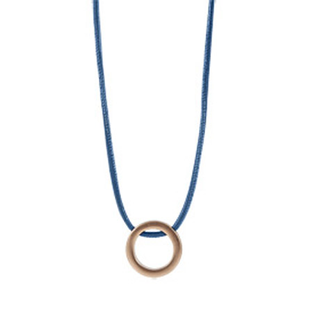 Sence Copenhagen Colony Blue Leather Be Magical Necklace with Rose Gold Circle Pendant