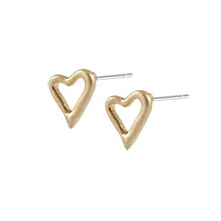 Sence Copenhagen Be Loving Small Gold Open Heart Earstuds - EOL