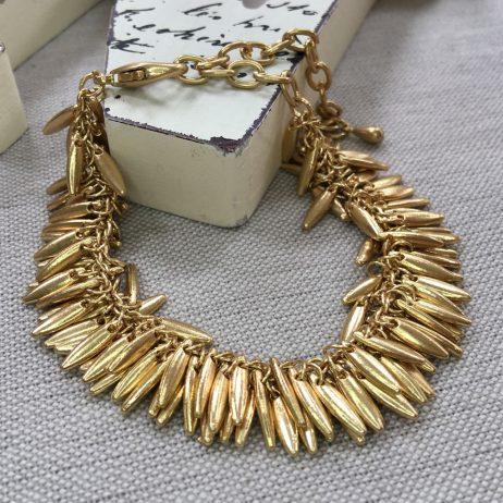 Hot Tomato Jewellery Gold Jasmine Fringe Bracelet