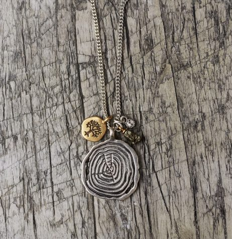 Hultquist Jewellery Tree and Coin Long Silver and Gold Nature Necklace