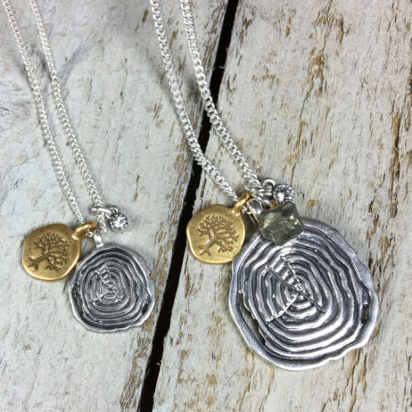 Hultquist Jewellery Tree and Coin Short Silver and Gold Nature Necklace