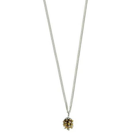 Hultquist Jewellery Fir Cone Bi Colour Silver and Gold Long Necklace - eol