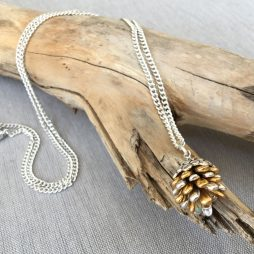 Hultquist Jewellery Fir Cone Silver and Gold Long Necklace