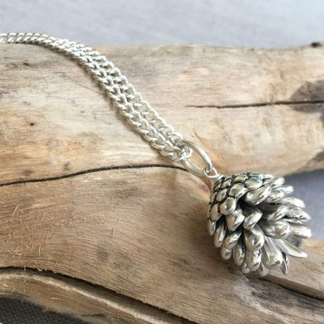 Hultquist Jewellery Fir Cone Long Silver Necklace