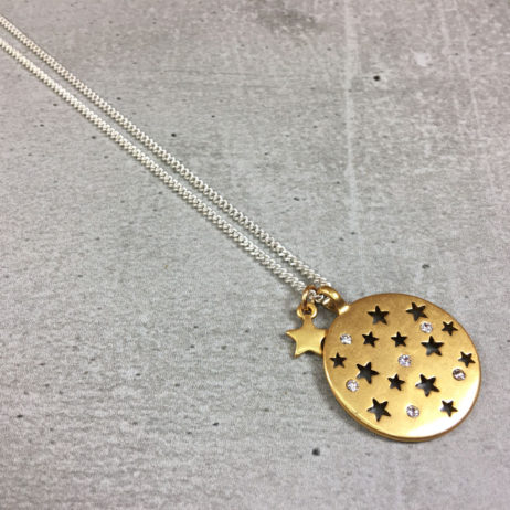 Hultquist Jewellery Moon and Stars Long Silver and Gold Coin Necklace