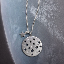 Hultquist Jewellery Moon and Stars Long Silver Coin Necklace 1292s