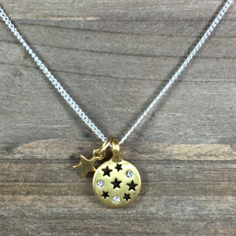 Hultquist Jewellery Moon and Stars Short Silver and Gold Coin Necklace
