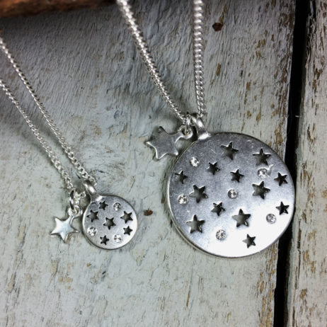 Hultquist Jewellery Moon and Stars Short Silver Coin Necklace