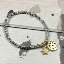 Hultquist Jewellery Star Moon Silver and Gold Bracelet