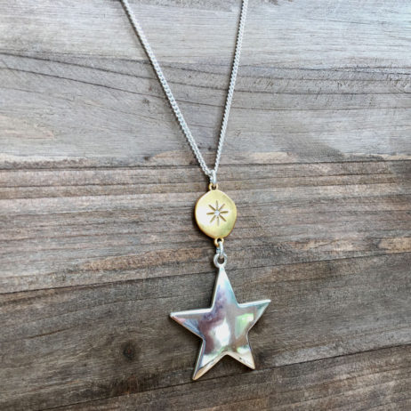 Hultquist Jewellery Large Star Moon and Stars Long Silver and Gold Necklace