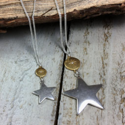 Hultquist Jewellery Moon and Stars Short Silver and Gold Necklace 1326bi