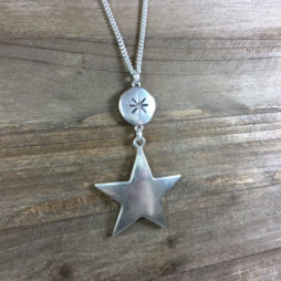 Hultquist Jewellery Large Star Moon and Stars Long Silver Necklace