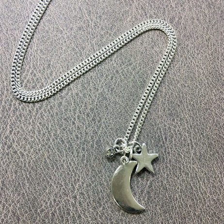 Hultquist Jewellery Moon and Stars Long Silver Necklace