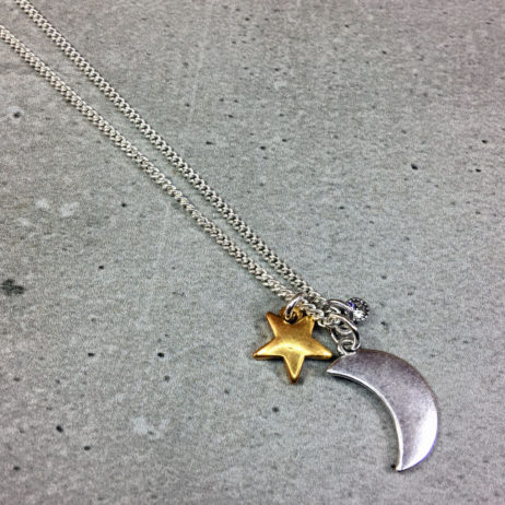 Hultquist Jewellery Moon and Stars Long Silver and Gold Necklace