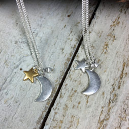 Hultquist Jewellery Moon and Stars Long Silver and Gold Necklace_1330bi