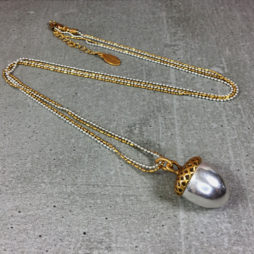 Hultquist Jewellery Acorn Long Necklace Silver and Gold Necklace
