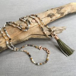 Sence Copenhagen Be Boho Necklace Bamboo Agate Worn Rose Gold