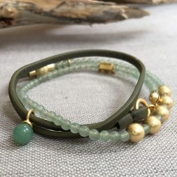 Sence Copenhagen Be Relaxed Bracelet Green Aventurine Olive Leather Worn Gold