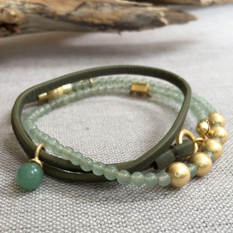 Sence Copenhagen Be Relaxed Bracelet Green Aventurine Olive Leather Worn Gold