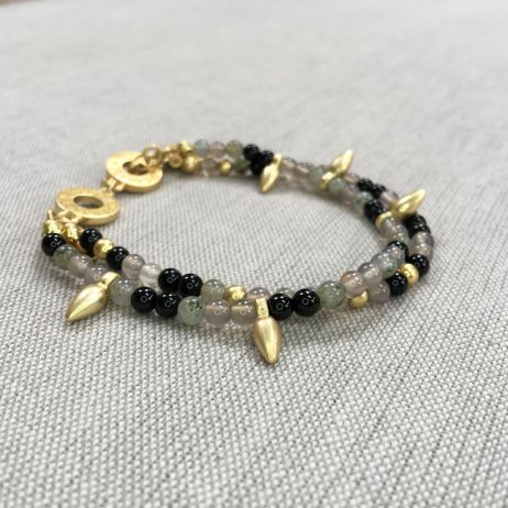 Sence Copenhagen Gold Bracelet With Black and Grey Agate