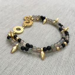 Sence Copenhagen Gold Bracelet With Black and Grey Agate