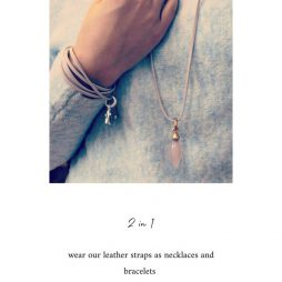 The fastest and easiest way to nail dressed-down cool is with this ultra feminine Sence Copenhagen 2 in 1 Grey Leather Necklace with Rose Gold. The extra long necklace can also be worn as a wrap bracelet. Designed from genuine leather in a charcoal grey and finished with rose gold plated beads, and a stamped official Sence Copenhagen logo charm p233