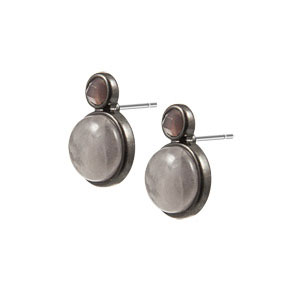 Sence Copenhagen Be Happy Earstuds Rose Quartz Worn Hematite