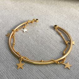 Hultquist Jewellery Gold Stars Bangle Bracelet with Chain