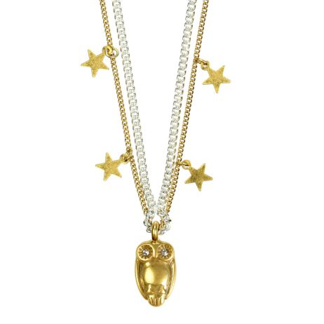 Hultquist Jewellery Short  Silver and Gold Necklace with Gold Owl and Stars