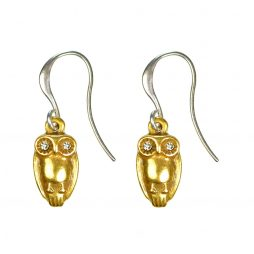 Hultquist Jewellery Gold Owl Silver Hook Earrings