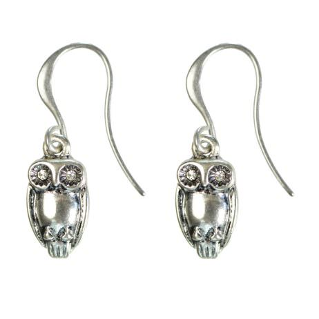 Hultquist Jewellery Silver Hook Earrings with Silver Owl
