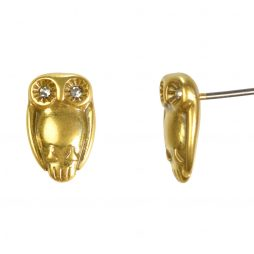 Hultquist Jewellery Gold Owl Stud Earrings