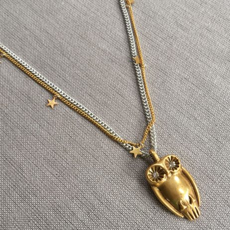 Hultquist Jewellery Long Gold and Silver Necklace with Large Gold Owl and Stars