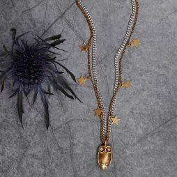 Hultquist Jewellery Long Gold and Silver Necklace with Gold Owl and Stars