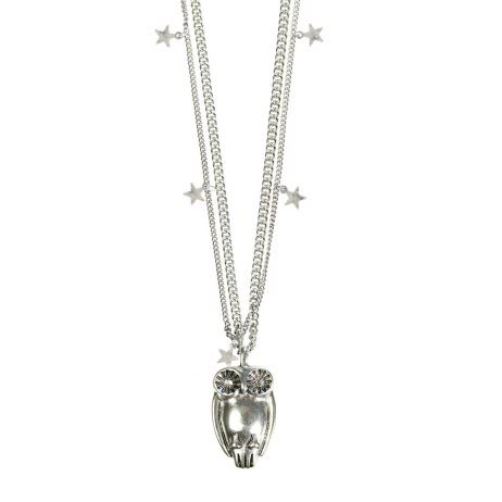 Hultquist Jewellery Long Silver Necklace with Large Owl and Stars