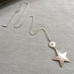 Hultquist Jewellery Large Star Moon and Stars Long Rose Gold Necklace
