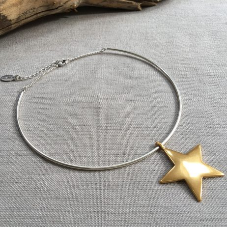 Hultquist Jewellery Silver Necklace with Gold Star Pendant