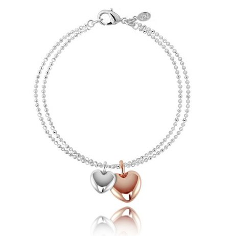 Joma Jewellery Ruby Silver Bracelet with Rose Gold and Silver Hearts 1607