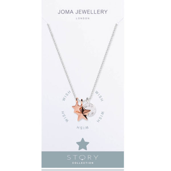 Joma jewellery story wish silver and rose gold charms necklace 2126 joma jewellery story wish silver and rose gold charms necklace 2126 mozeypictures Images
